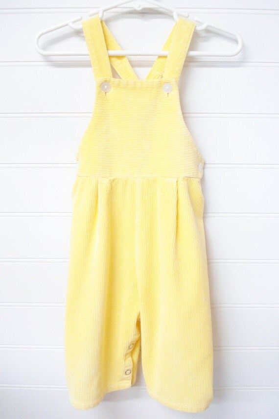 Vintage Baby Clothes Vintage Baby Girl Overalls Lemon Yellow