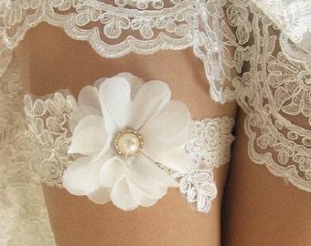 Wedding Garter, Ivory With Flower Bridal Garter Belt, Single Toss Garter, Ivory Flower Bridal Garter