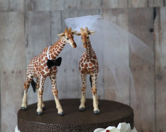 Giraffe Wedding Cake Topper  - Bride and Groom - Rustic Country Chic Wedding