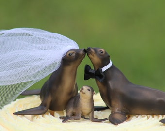 Seal Family Wedding Cake Topper -  Sea Lion  Cake Topper -  Rustic Country Chic Wedding