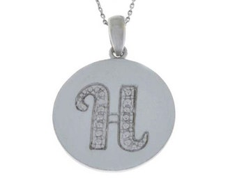 Letter H Pendant .925 Sterling Silver Rhodium Finish