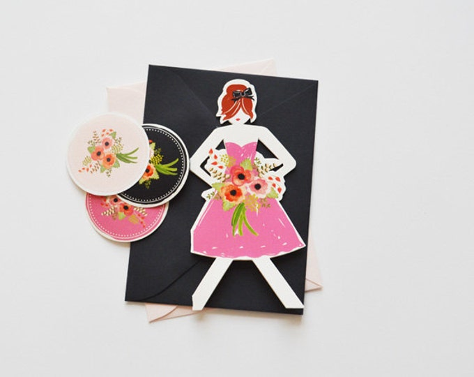 Will you be my Bridesmaid Paper Doll Cards Set of 3