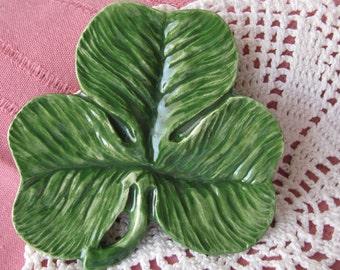 Green Shamrock Teabag Holder, Spoon Rest or Trinket Dish, St. Patrick's Day