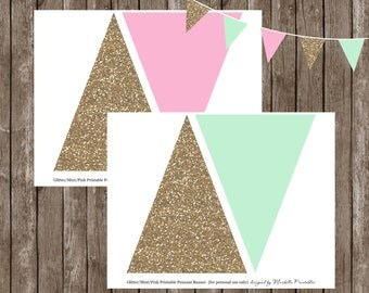 Glitter/Mint/Pink Printable Pennant BANNER by Marbella Designer Party Printables
