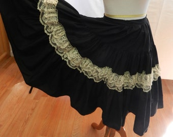 Skirt1950s Black Tiered  With Ruffle