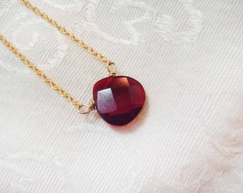 Wine Quartz Faceted Briolette necklace - Sterling Silver or Gold Filled Chain with semi-precious gemstone - dainty, natural gem