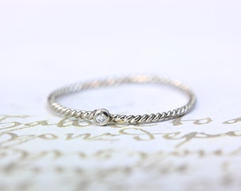 14kt tiny twisted white gold diamond stackable ring
