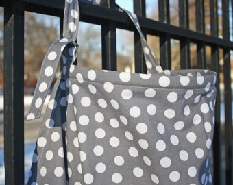 Grey Nursing Cover with White Polka Dots.  100% cotton Neutral Dot Nursing Cover