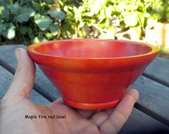 Wooden bowl, fire red, Maple wood, wood bowl, salsa bowl, serving bowl, handmade