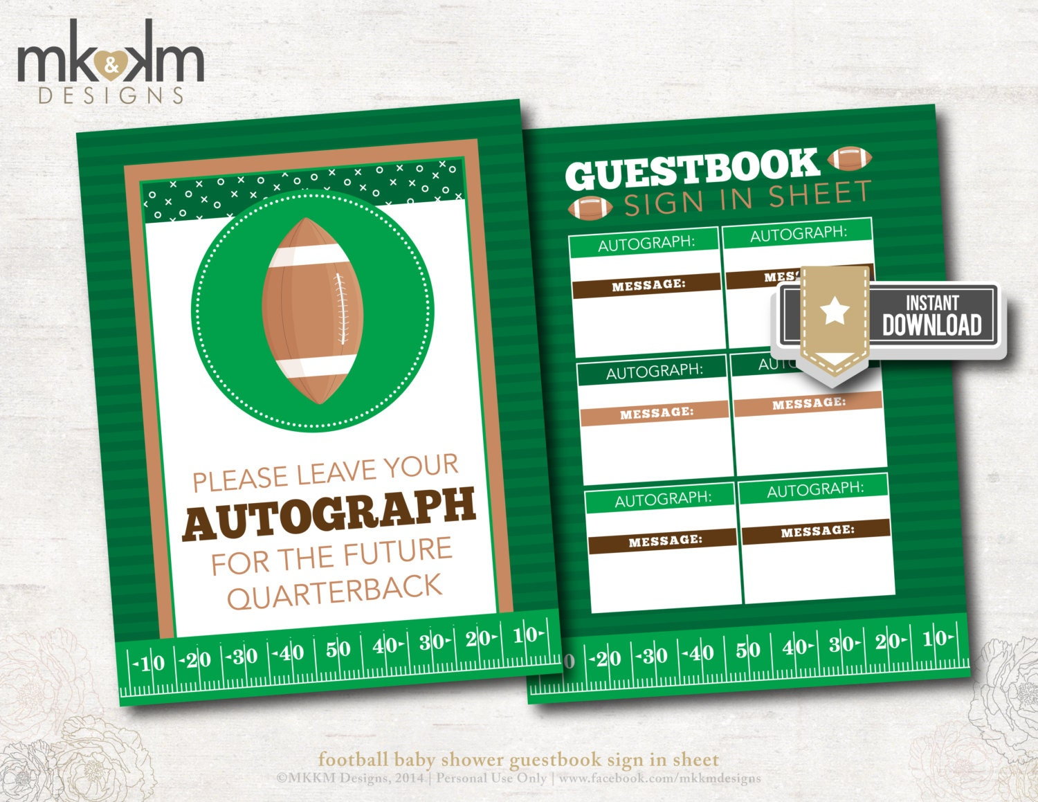 football baby shower guestbook sign in sheet sports by mkkmdesigns