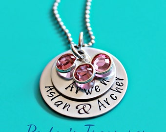Christmas Gift- Hand stamped Jewelry- Personalized- Layered Necklace- Mother's Necklace- Mother's Jewelry- Names- Grandma- Mommy Necklace