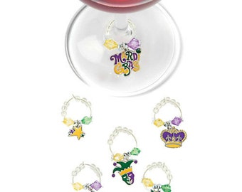 Mardi Gras Wine Charms - Mardi Gras Party Favors - Mardi Gras Gifts - Mardi Gras Decorations - Mardi Gras Glass Tags - Glass Markers