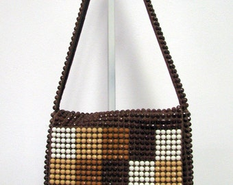Retro Beaded Shoulder Bag by Walberg Boho Chic 1960's Brown Ivory and Tan beads