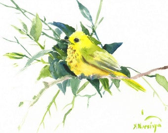 Yellow Warbler Painting, original watercolor, 12 x 9 in