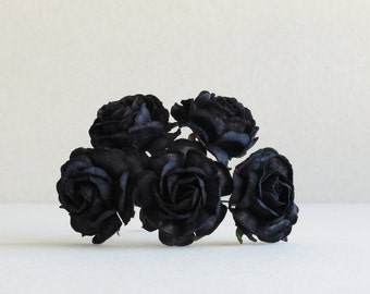 35mm Black Paper Roses (5pcs) - Mulberry paper flowers with wire stems - Ideal for wedding decoration [274-e]