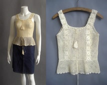 1970s crochet top / Evissa tunic / 70s macrame top