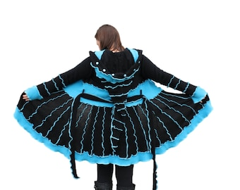 Sale! 20% off! Upcycled Sweater Coat/ Katwise Inspired/ elf coat/ medium/ black/teal/torquoise/ electric. Was 280.