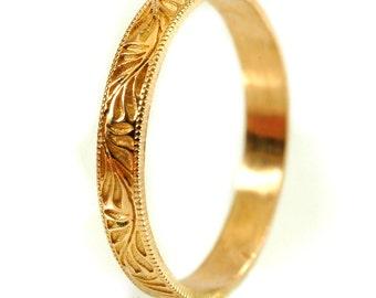 Stackable Vintage Style Ring, Gold Stacking Rings, Botanical Ring, Thin Wedding Band, Leaf Ring, Gold or Palladium Wedding Band Cr-5029
