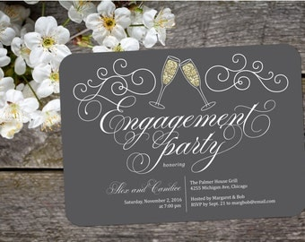 Bubbles Engagement Party Invitation; Elegant, formal, cheers, glittery