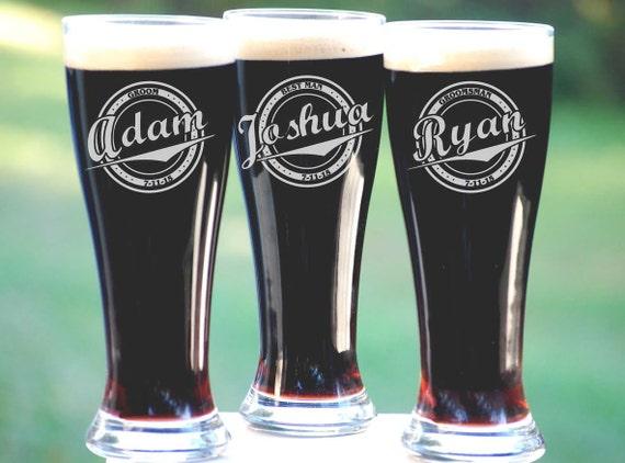 Beer Glasses, Custom Engraved Pilsner Glass, Wedding Party Gifts ...