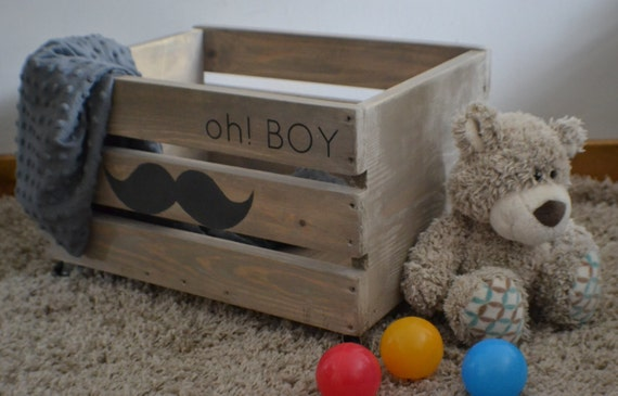 Wooden Crate, Vinatge style wooden toys crate, box Modern,kids room storage nursery furniture, Moustache, boy wooden box, rustic home decor