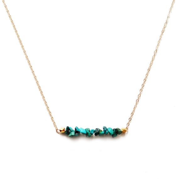 Turquoise Bar Necklace, Turquoise Necklace, Gold Bar Necklace, Gold Layer Necklace, 14k Gold Necklace, Turquoise Jewelry, Delicate Necklace