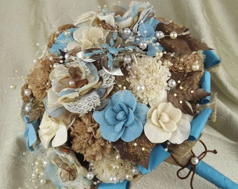 Rustic-Wedding Bridal Bouquet,Bride's Bouquet,Country Western-Wedding Flowers,Fabric Bouquet-Ivory&Turquoise-Cafe,Sola Flowers,Barn Weddings