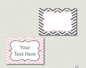 Gray and Pink Chevron Labels - Printable PDF - EDITABLE - Instant Download - Immediate Download