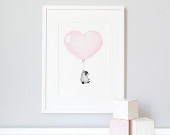 """Pastel Pink Heart Balloon, UNFRAMED 16x12"""" Print, Girl's Nursery, Children's Art, Kid's Wall Art, Bedroom Decor, Whimsical, Archival Print"""
