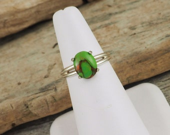 Sterling Silver Ring - Green Copper Turquoise Ring - Promise Ring - Friendship Ring   Everyday Ring with a 10mm x 8mm Green Copper Turquoise