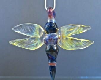 Sculpted Dragonfly Glass Poker Pendant - Borosilicate Lampwork