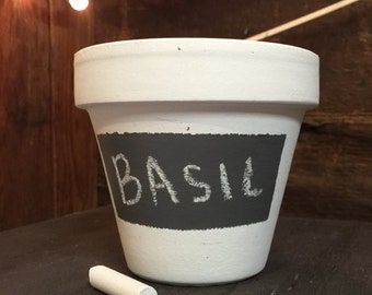 Hand-Painted Plant / Herb Pot with Chalkboard Label