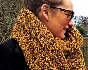 Hand-knitted Double-Cowl Infinity Scarf in 'Mustard Yellow'