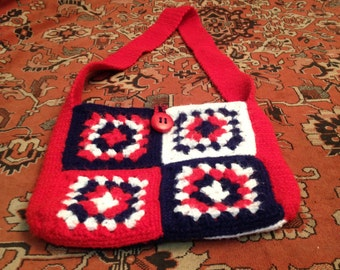 Vintage Hand Knitted Granny Square Bag
