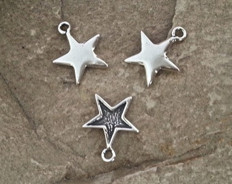 1 Pc.- Tiniest Delicate Sterling Silver 925 Lost Wax Cast Artisan Star Charm Pendant  -10mm (measured without loop)
