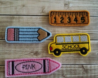 School Felt Embellishment, set of 4, Felties