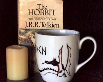 Personalized Dragon and Cirth Rune Mug