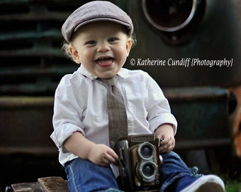 Rustic prop maroon baby hat and necktie, nostalgic photography prop, vintage wedding ring bearer hat, Rustic baby photo prop,- made to order