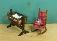 Dollhouse Baby Cradle And Ladderback Rocking Chair 1 12