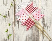 Happy Flags Valentine's Day, red heart, pink decorations handmade - SET of 5