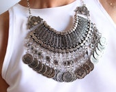 Silver Long Tassel Turkish Coin Necklace Festival Style