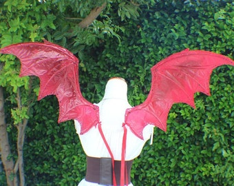 Custom Large dragon inspired wings in red with red jewels