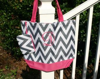 Girls Monogrammed Gray Chevron Tote Bag Hot Pink Trim