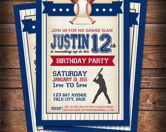 DIGITAL : Custom Vintage Grand Slam Baseball Birthday Invitation