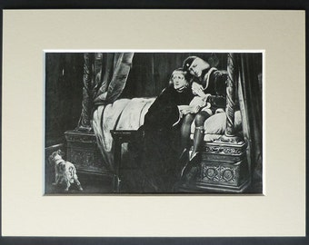 Vintage Historical print of 'The Princes in the Tower' by Paul Delaroche British history decor, Edward V - Duke of York - Tower of London