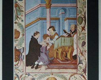 Vintage Historical Print of Queen Mary Tudor Healing a Victim of 'King's Evil' Mystical healing power, royal touch, 16th century English art