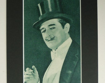 1920s Antique Hollywood Print of Marc McDermott, Old Silent Movie Gift, Available Framed, Film Art, Silver Screen Decor, Top Hat Wall Art