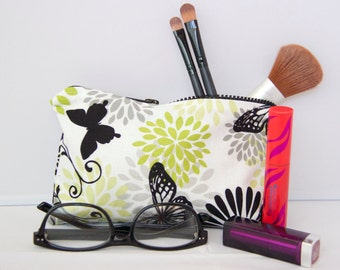 Small Bag - Butterflies and Flowers - Zippered Pouch - Cosmetic Bag - Pencil Case
