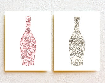 Set of 2 Wine Bottle Kitchen Art Print, Typography Illustration Red and White Wine Wall Decor, gift for wine lover, minimalist art prints
