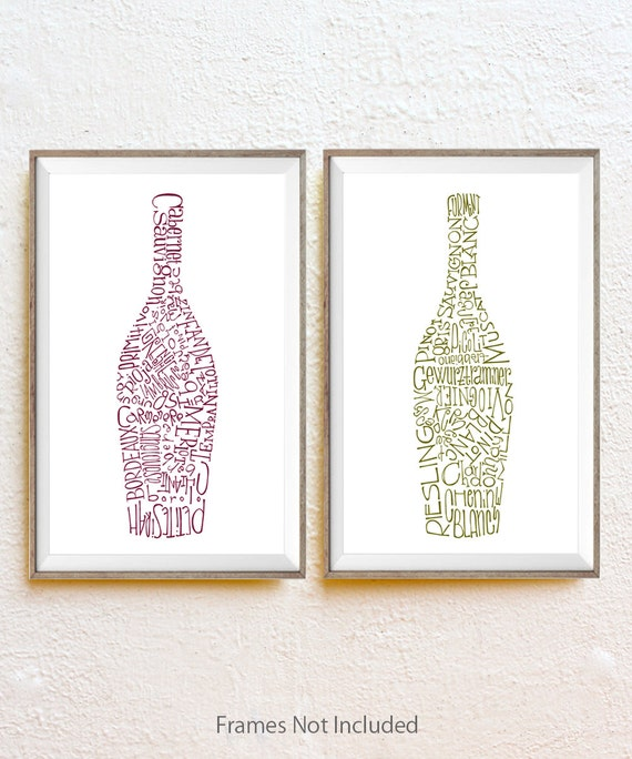 Wine Bottles Kitchen Decor Set Of 2 Ink Drawing By